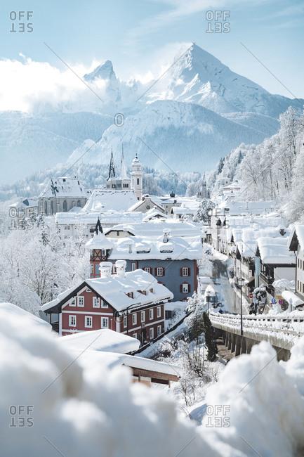 October 14, 2018: Germany- Bavaria- Berchtesgaden- Town and Watzmann in deep snow