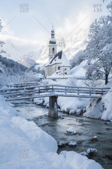 October 14, 2018: Germany- Bavaria- Ramsau bei Berchtesgaden- Church of St. Sebastian in deep snow