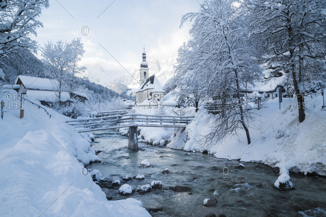 Germany- Bavaria- Ramsau bei Berchtesgaden- Church of St. Sebastian in deep snow