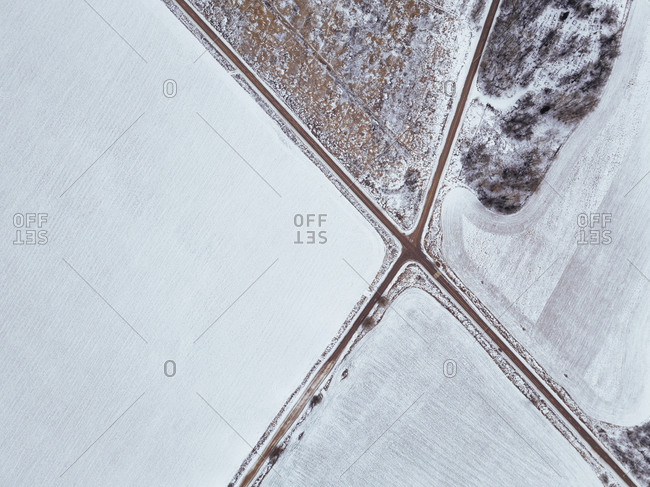 Russia- Moscow region- Aerial view of crossroad and snow covered fields
