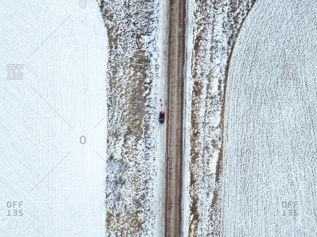 Russia- Moscow region- Aerial view of car in Winter landscape