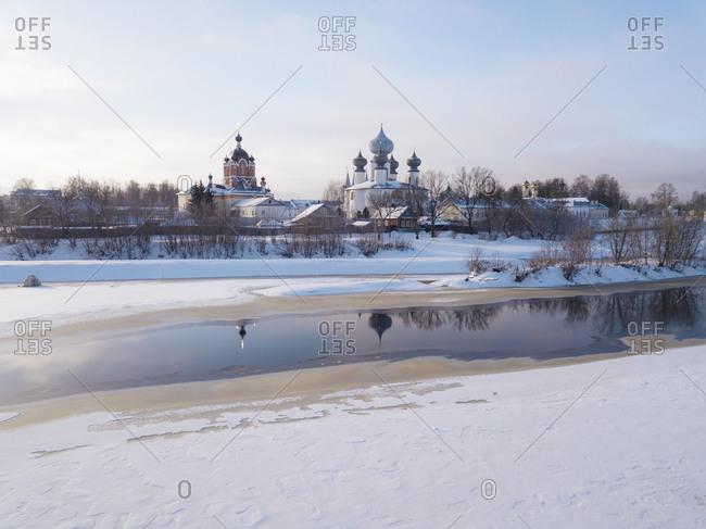 Russia- Leningrad Region- Tikhvin- Tikhvin Assumption Monastery in Winter