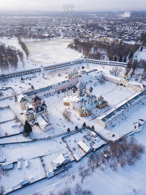 Russia- Leningrad Region- Tikhvin- Aerial view of Tikhvin Assumption Monastery in Winter