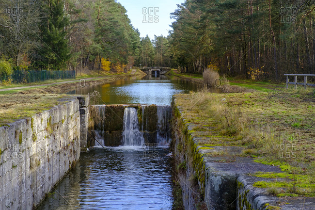 Germany- Bavaria- Schwarzenbruck- River flowing through abandoned Ludwig Canal