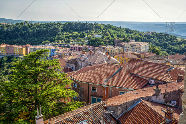Croatia- Istria- Labin- View of old town and Adriatic sea