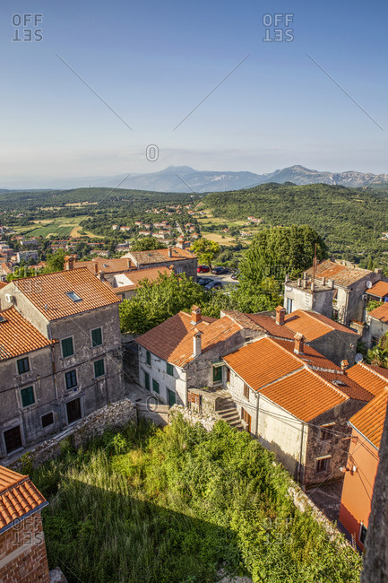 Croatia- Istria- Labin- View of old town and mountain Vojak in distance