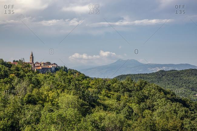 Croatia- Istria- Labin- View of town and green hills