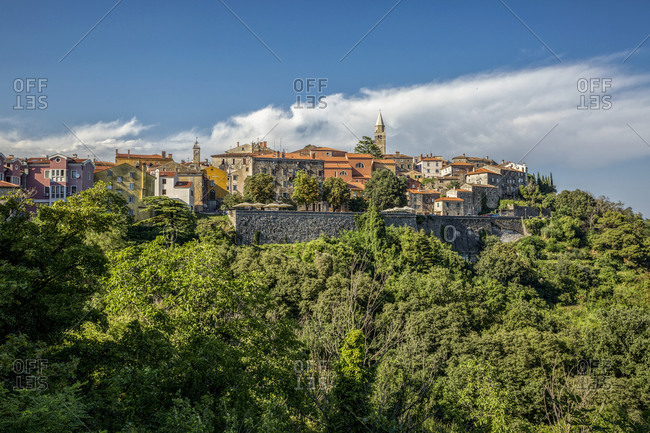 Croatia- Istria- Labin- View of town on green hill