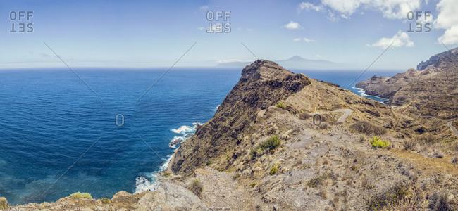 Spain- La Gomera- Hermigua- View on Teneriffa Island