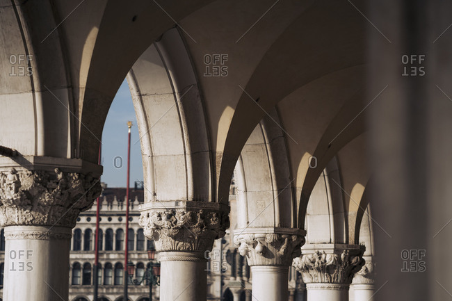 Italy- Venice- Close-up of Doges Palace arcade
