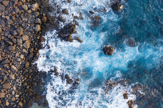 Spain- Canary Islands- La Gomera- Valle Gran Rey- Aerial view of rocky coast and waves
