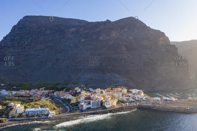 December 9, 2019: Spain- Canary Islands- La Gomera- Valle Gran Rey- Vueltas- Aerial view of coastal town and mountain