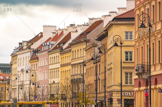 October 30, 2017: Row of houses in the old town- Warsaw- Poland