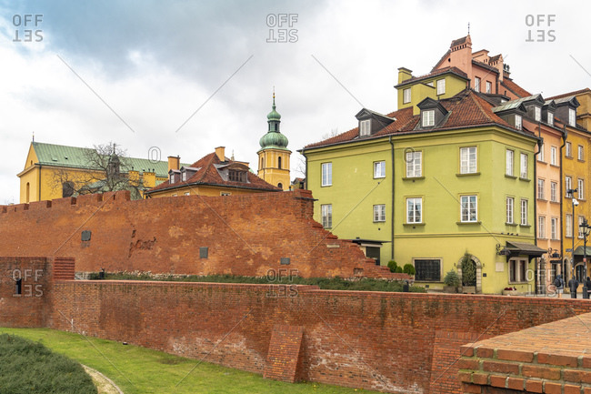 Remains of historic defense wall from the fortification of the old town- Stare Miasto- Warsaw- Poland