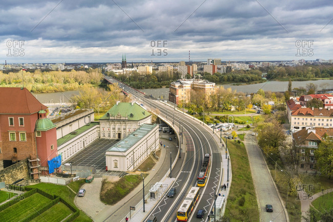 October 30, 2017: View to Vistula and castle from above- Warsaw- Poland