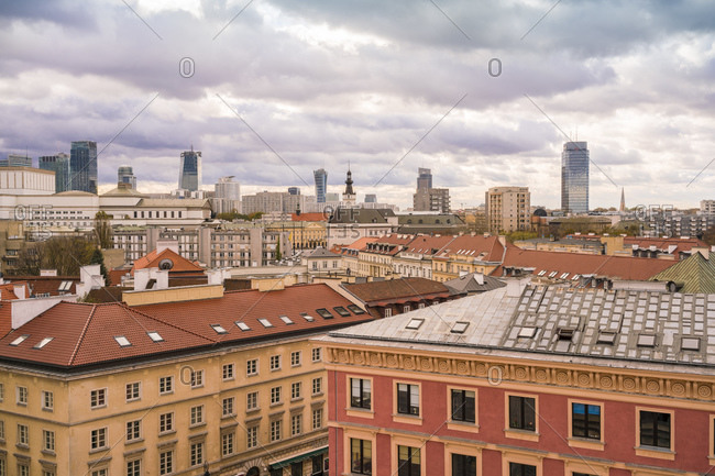 October 30, 2017: View to skyline- Warsaw- Poland