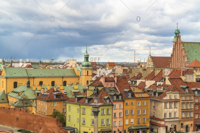 October 30, 2017: View to the old town from above- Warsaw- Poland