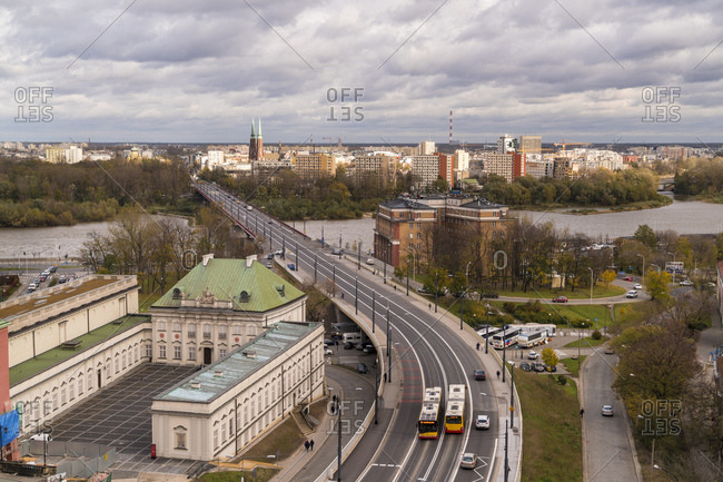 October 30, 2017: View to castle and Vistula from above- Warsaw- Poland