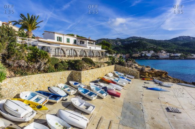 December 26, 2018: Spain- Mallorca- Sant Elm- boats at seafront