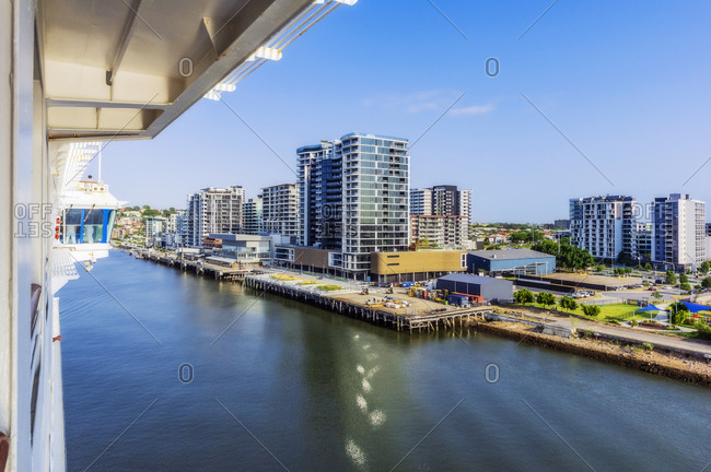 December 18, 2019: Australia- Queensland- Brisbane- City skyline seen across Brisbane river