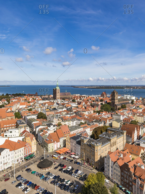 September 19, 2019: Germany- Mecklenburg-Western Pomerania- Stralsund- High angle view of coastal town