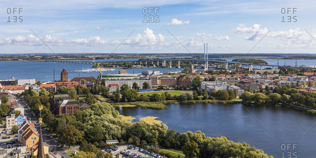 September 19, 2019: Germany- Mecklenburg-Western Pomerania- Stralsund- Coastal town with clear line of horizon over Baltic Sea in background