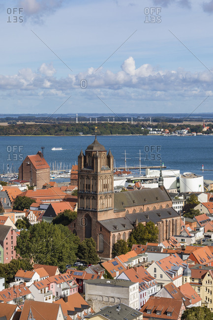 Germany- Mecklenburg-Western Pomerania- Stralsund- Saint Jacobs Church and surrounding old town houses