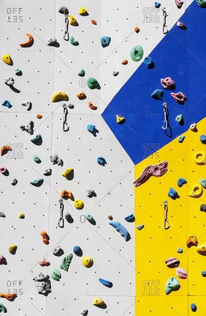 Hand grips on climbing wall