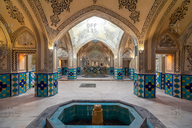March 1, 2019: Interior of Arabian Bathhouse in Kashan, Iran