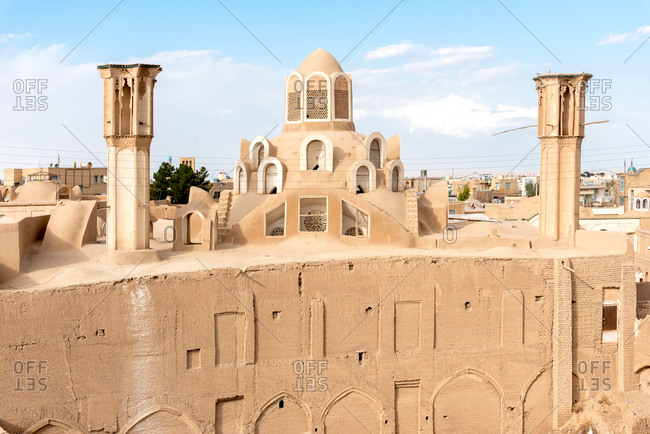 Ancient traditional Iranian roof and wind tower in Kashan