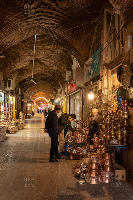 March 2, 2019: Inside the galleries of the Great Bazaar. Isfahan, Iran