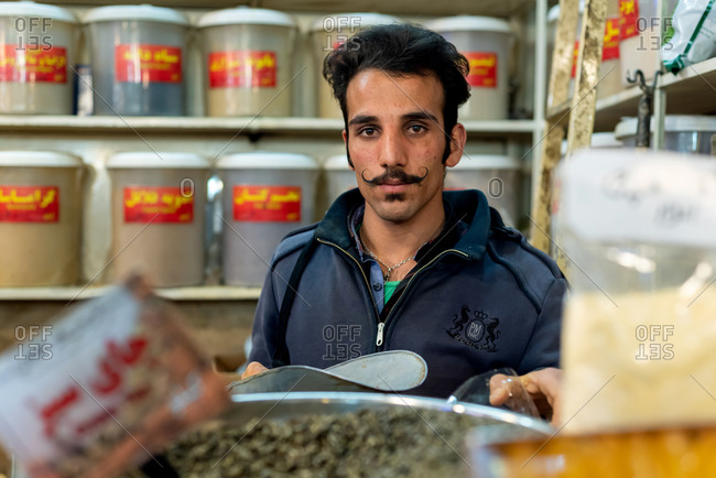 March 2, 2019: Portrait of a Iranian reseller with mustache. Isfahan, Iran
