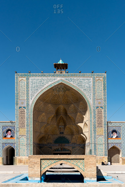March 3, 2019: Portal in Jameh Mosque's courtyard decorated with complex brickwork, Isfahan, Iran