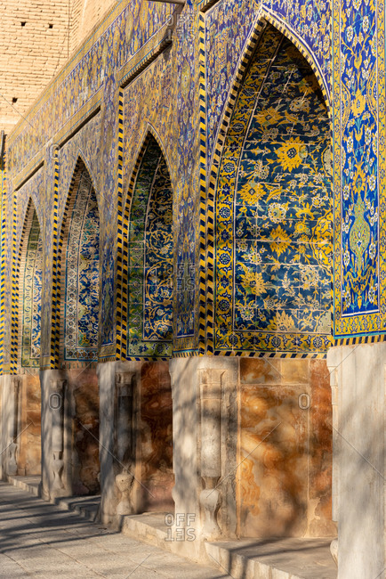 Tilework on walls of Imam Mosque, Imam Square in Isfahan, Iran