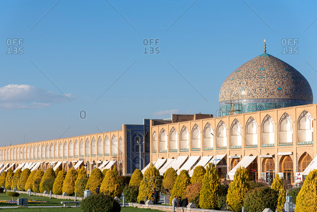 March 3, 2019: View over the Royal Square and the Sheikh Lotf Allah Mosque. Isfahan, Iran