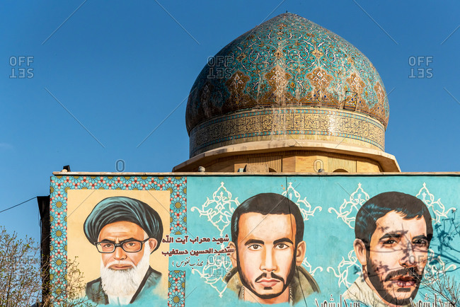 March 6, 2019: Painting of Iranian soldiers martyrs. Isfahan, Iran