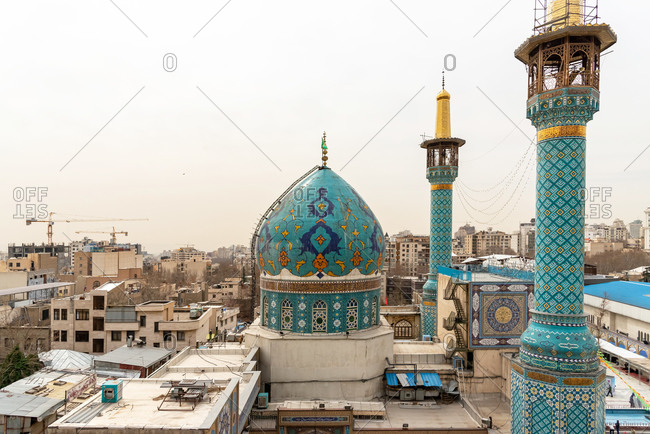March 9,2019: Aerial view of Shemiran Mosque in north Tehran. Tehran, Iran