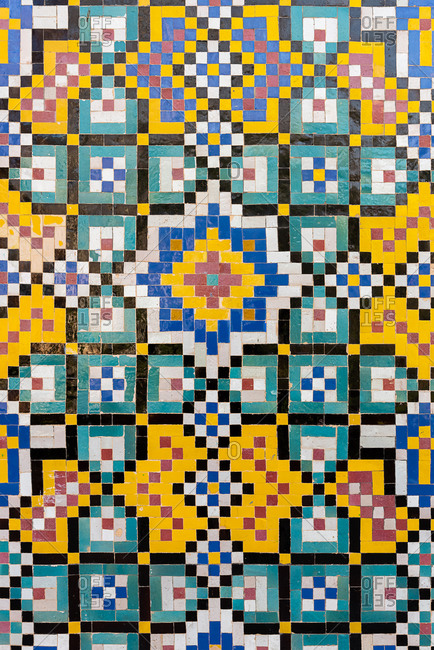 Detail of traditional Persian mosaic wall with geometrical ornament in Iran