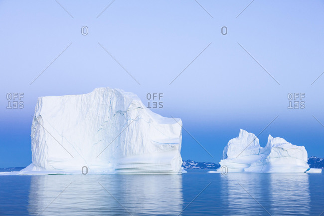Blue hour icebergs, Scoresbysund, East Greenland, Greenland, North America