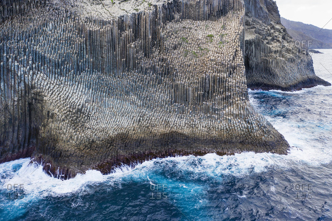 Basalt rock formation Los Organos, Organ Pipe Rock, near Vallehermoso, aerial view, La Gomera, Canary Islands, Spain, Europe