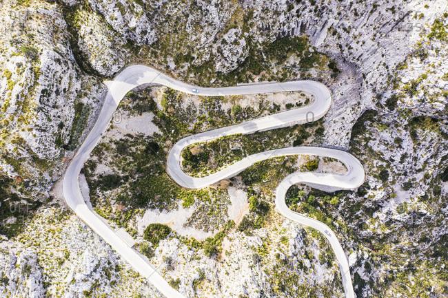 Serpentine road MA-2141 to Sa Calobra, Serra de Tramuntana, drone recording, Majorca, Balearic Islands, Spain, Europe