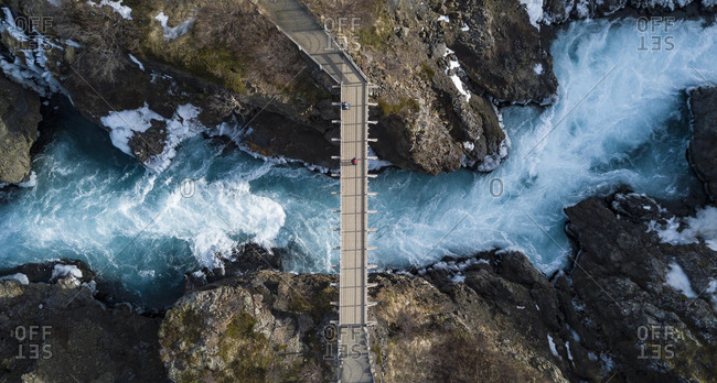 Aerial view, bridge and raging river HvÌt· from above, near the Hraunfossar waterfalls, West Island, Iceland, Europe