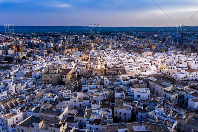 Aerial view, of the old town of Monopoli, at dusk, Apulia, Italy, Europe