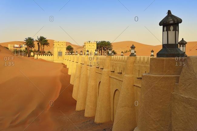 Desert Luxury Hotel Anantara Qasr Al Sarab, Hotel Resort built in the style of a desert fort surrounded by high sand dunes, in the Empty Quarter called Rub Al Khali Sand Desert, Emirate of Abu Dhabi, United Arab Emirates, Asia