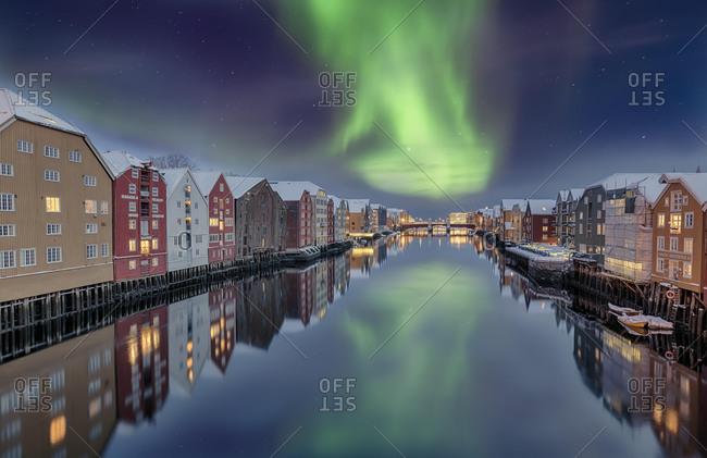 March 12, 2020: Winter, Bakklandet, Warehouses, Trondheim, Norway, Europe