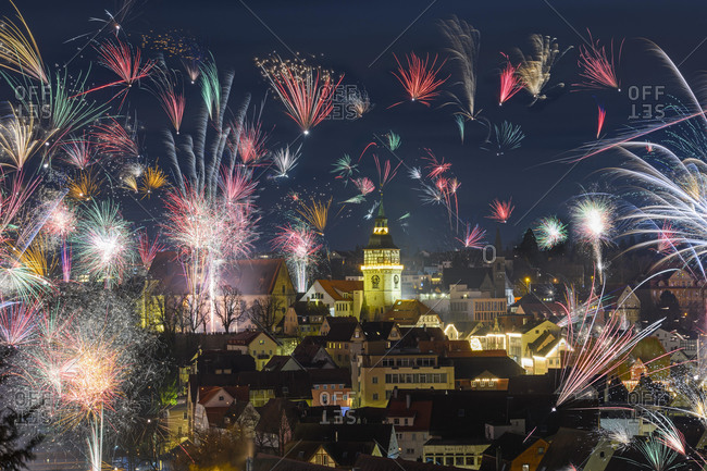 New Year\'s Eve fireworks, Backnang, Rems-Murr district, Baden-W¸rttemberg, Germany, Europe