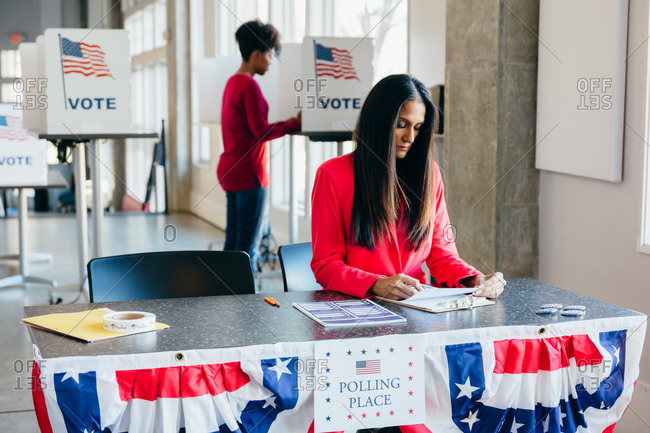 Volunteer Working at Polling Place