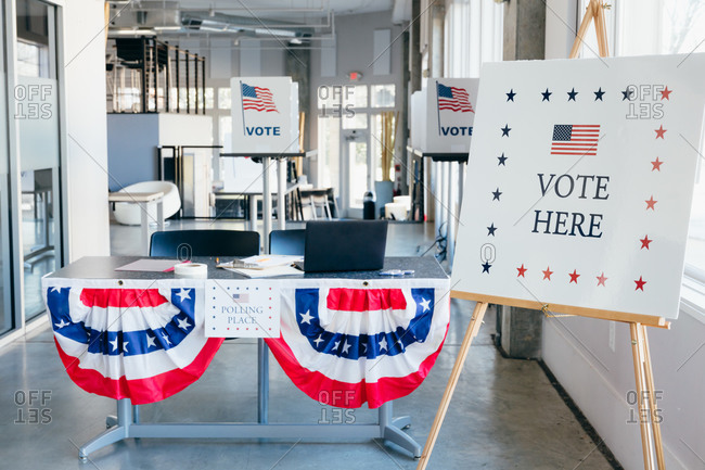 US Elections Polling Place without people