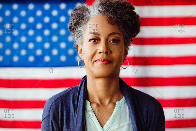 Portrait of Patriotic American Woman