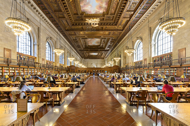 New York, USA - October 5, 2016: Rose Reading Room, the main reading room of the public library